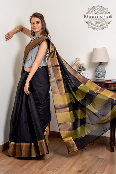 Black Golden Pure South Cotton Handloom Kovai Cora Saree