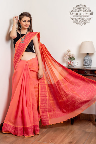 Coral Pink Pure South Cotton Handloom Kovai Cora Saree
