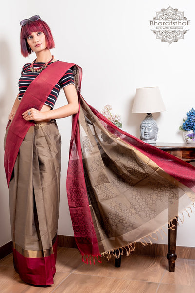 Maroon And Cedar Brown Pure South Cotton Handloom Kovai Cora Saree