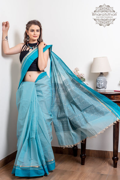 Aqua Blue And Black Pure South Cotton Handloom Kovai Cora Saree