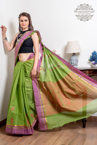 Green South Pure Cotton With Purple Border Handloom Kovai Cora Saree