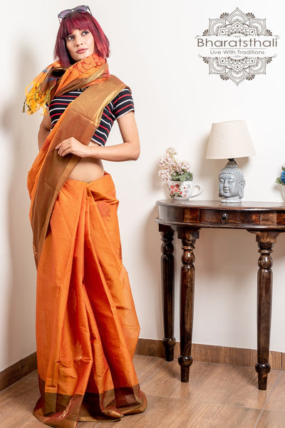 Bronze Orange With Olive Green Pallu Pure Cotton Handloom Kovai Cora Saree