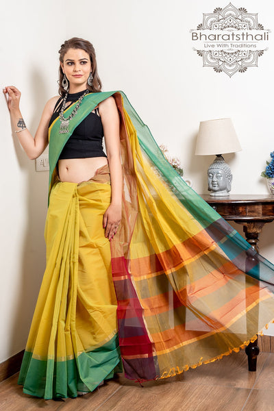 Yellow Pure South Cotton Handloom Kovai Cora Saree