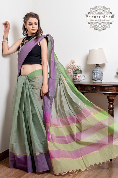 Grey Pure South Cotton Handloom Kovai Cora Saree With Pure Zari Work