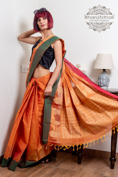 Ginger Orange Pure South Cotton Handloom  Kovai Cora Saree