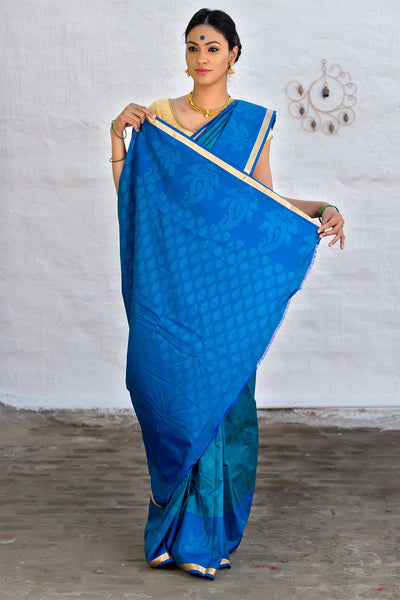Blue Cotton Art Silk Saree
