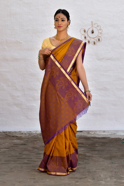 Old Gold Brown And Purple Cotton Blend Saree