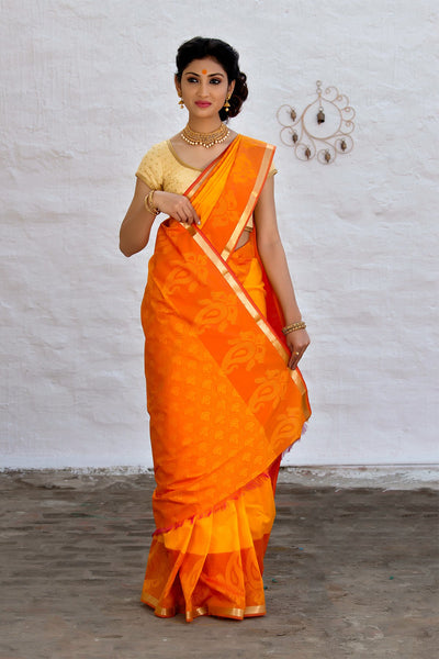 Canary Yellow Cotton Art Silk Saree