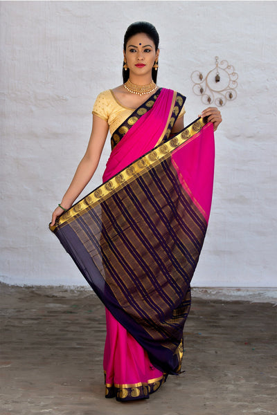 Magenta Blue Crepe Art Silk Saree