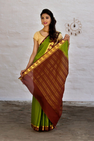 Green And Maroon Mysore Art Silk Saree