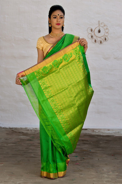 Green Pure Soft Silk Kanjivaram Handloom Saree