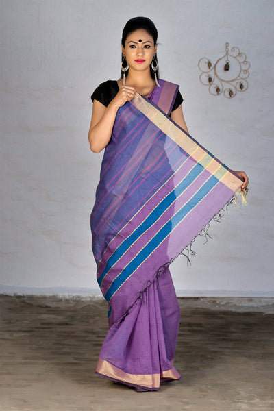 Purple With Zari Pallu Chanderi Cotton Saree