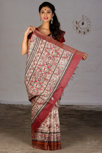 Daisy Cream With Multicolor Patterns Pure Tussar Silk Printed Saree