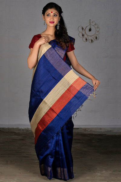 Purple Red Beige With Jute Pallu Pure Dupion Raw