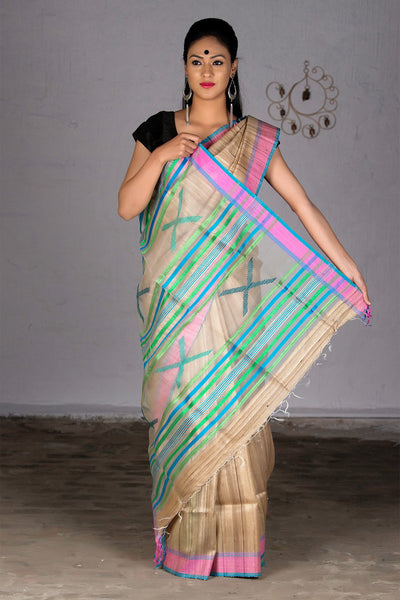 Beige Blue Pink Green With Net And Jute Pallu Tussar Silk Saree