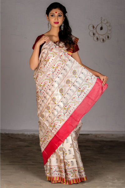 Cream Red Pure Tussar Silk Printed Saree