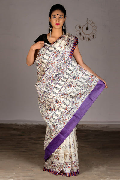 Cream Purple Pure Tussar Silk Printed Saree