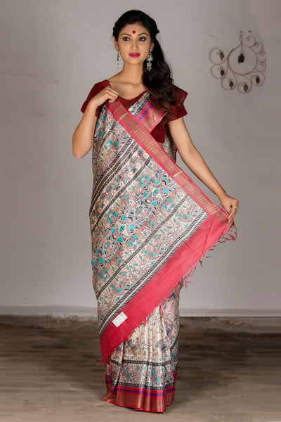 Multicolor Pure Tussar Printed Silk Saree