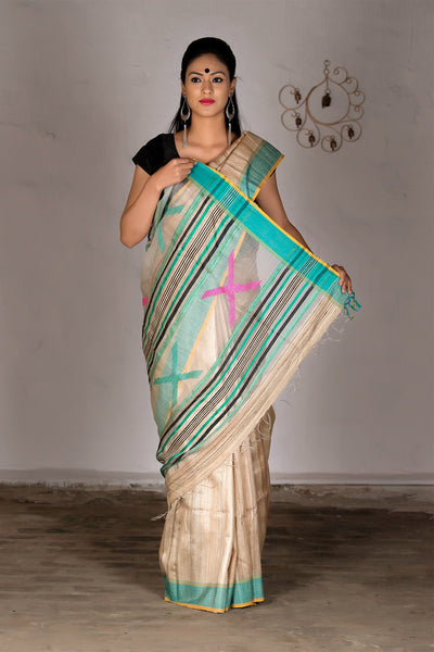 Beige Blue Pink With Net And Jute Pallu Tussar Silk Saree