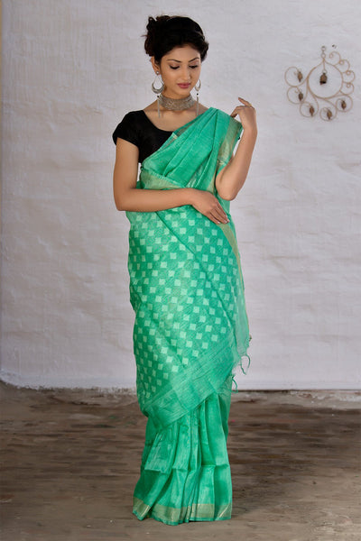 Sea Green Silk Linen Saree