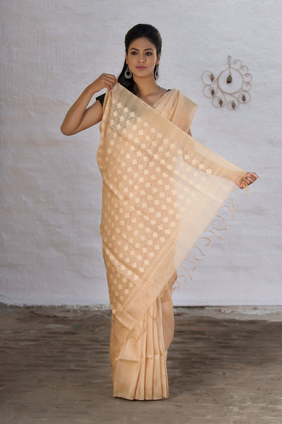Handwoven Cream Silk Linen Saree