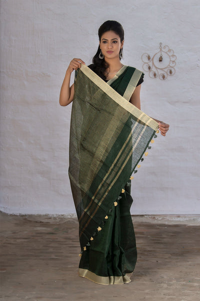 Pure Linen Dark Green Saree