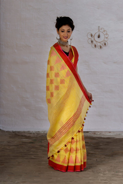 Yellow And Red Pure Linen Saree
