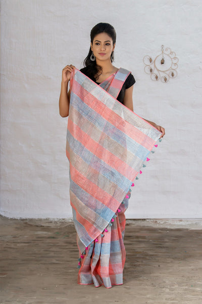 Checked White Cream Brown And Pink Pure Linen Handloom Saree