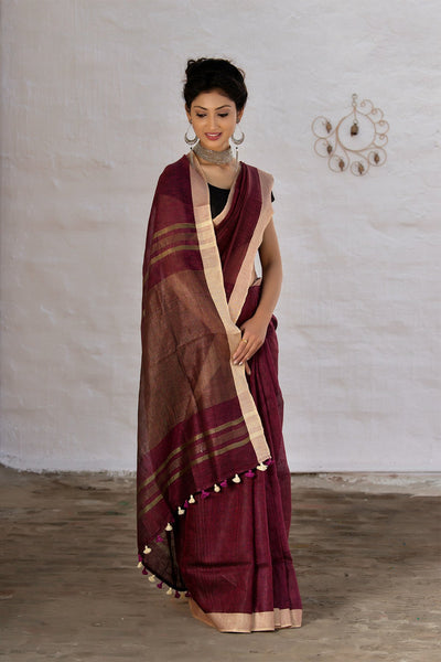 Maroon With Antique Gold Pallu Pure Linen Handloom Saree