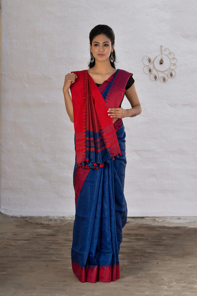 Denim Blue Pure Linen Handloom Saree With Red Temple Border