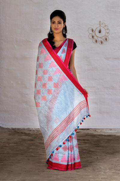 Lightblue And Red Pure Linen Saree