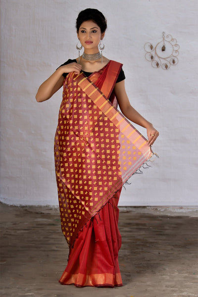 Brick Red With Beige Pallu Tussar Silk Saree