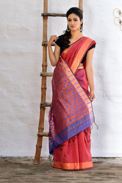 Blush Red With Beige Pallu Tussar Silk Saree