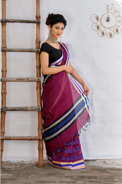 Plum Blue White Black Pure Linen Saree