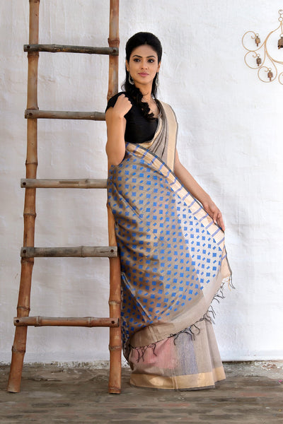 Grey With Blue Pallu Tussar Silk Saree