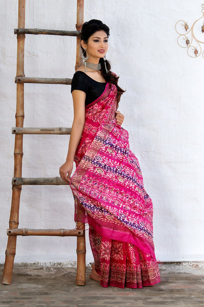 Pink Tussar Saree With Prints