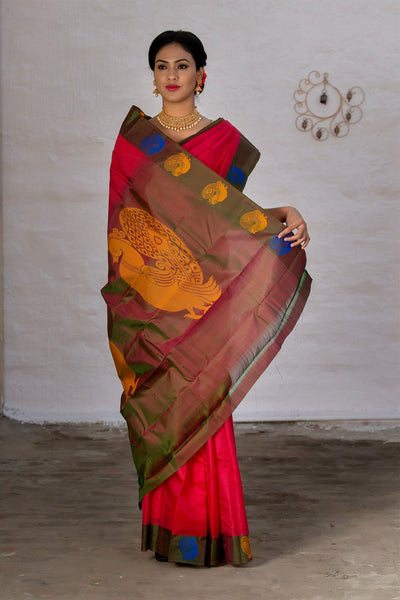 Red And Yellow Pure Kanjivaram Silk Handloom Saree