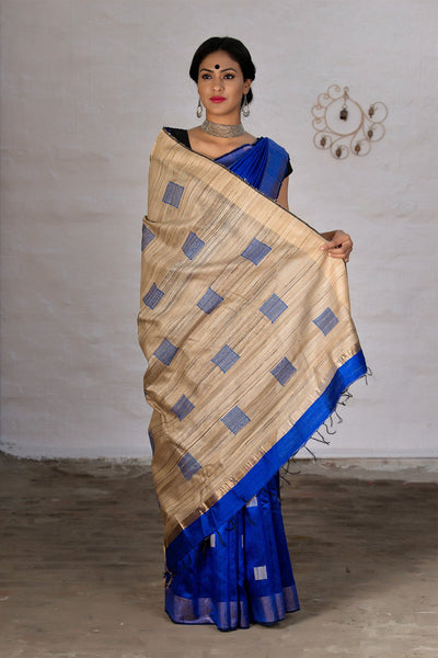 Cobalt Blue With Jute Pallu Handloom Raw Silk Saree