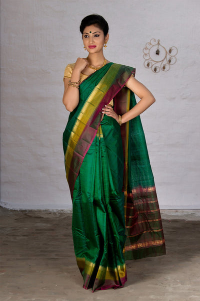 Pine Green Yellow And Pink Pure Kanjivaram Silk Handloom Saree