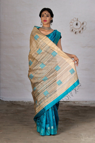 Sapphire Blue With Jute Pallu Raw Silk Saree