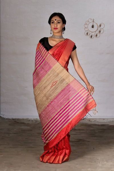 Autumn Orange With Beige Pallu Pure Dupion Raw Saree
