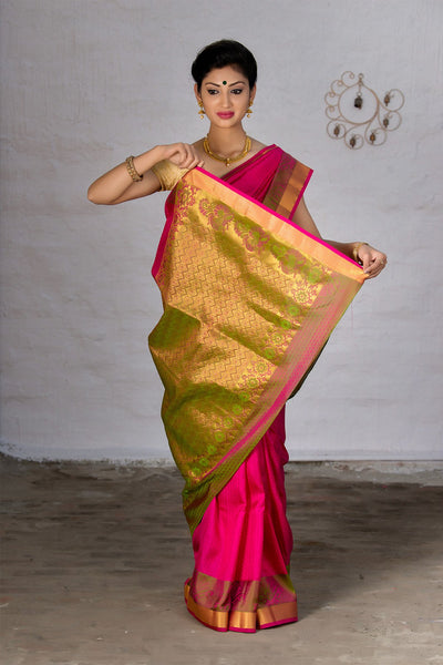 Ruby Pink With Zari Pallu Soft Silk Saree