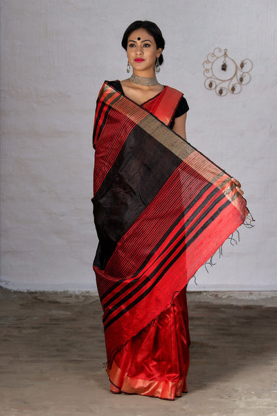 Red And Black With Jute Pallu Pure Raw Saree