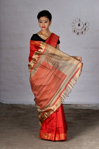 Candy Red With Jute Pallu Raw Silk Saree