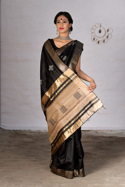 Black With Beige Pallu Raw Silk Saree