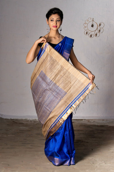 Admiral Blue With Beige Pallu Raw Silk