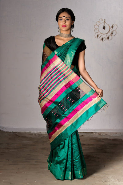 Teal Green With Jute Multicolor Pallu Pure Dupion Raw Saree