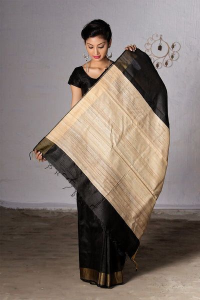 Black With Cream Pallu Raw Silk Saree