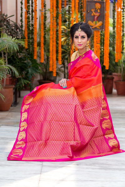 Fire Orange With Pink Pallu And Border Pure kanchipuram Silk Saree