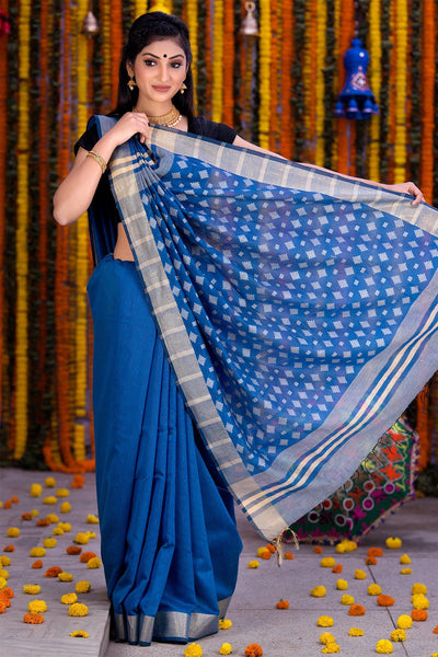 Blue White With Zari Pallu Chanderi Cotton Saree